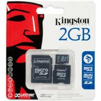 Kingston 2 GB Micro Secure Digital Hafıza Kartı + 2 Adaptör (SD Mini Ve SD) SDC/2GB-2ADP