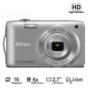 Nikon Coolpix S3200 16 MP 6x Optik Zoom 2.7 LCD HD Dijital Fotoğraf Makinesi