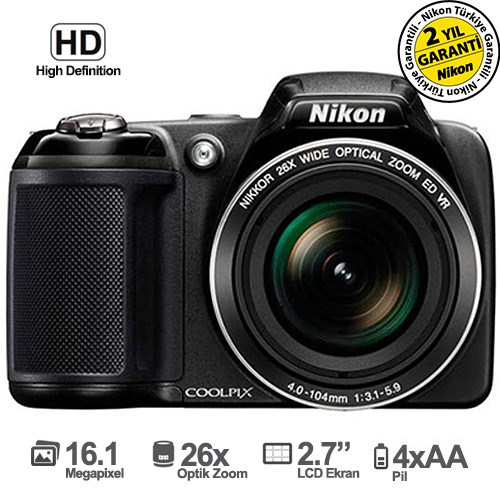 "Nikon Coolpix L320 16.1 MP 26x Optik Zoom 3"" LCD Ekran Dijital Fotoğraf Makinesi"