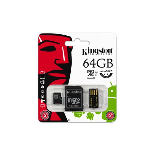 Kingston 64GB Mobility Kit MicroSD Class10 Sd + Usb Adaptör Kit Hafıza Kartı MBLY10G2/64GB