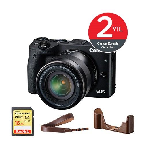 Canon EOS M3 18-55mm IS STM Lens Premium Kit Aynasız SLR Fotoğraf Makinesi