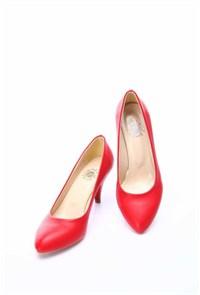 Shoes&Moda Kırmızı Cilt Kadın Stiletto Ayakkabı 509 6 Nz011t94