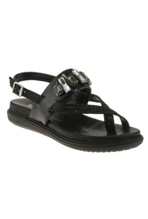 Yees 490 Çapraz P.atasli Siyah Kadın Sandalet