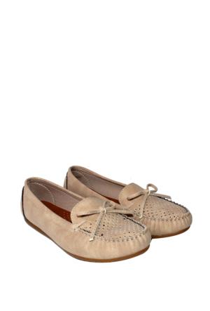 Zerrin Ayakkabı Bej Nubuk Günlük Delikli Bayan Ayakkabı-609995