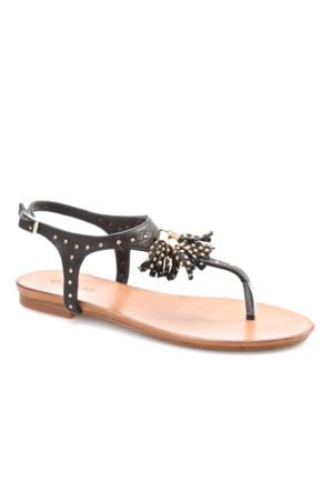 Cabani Püsküllü Günlük Kadın Sandalet Siyah Deri