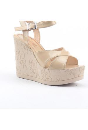 Armoni 104 Dolgu Topuk Abiye 11Cm Kadın Hafif Topuklu Sandalet