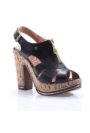 Perim 712 Günlük Fermuarlı Cilt Topuklu 12 Cm Kadın Sandalet