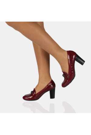 Modabuymus Kroko Bordo Rugan Bayan Ayakkabı