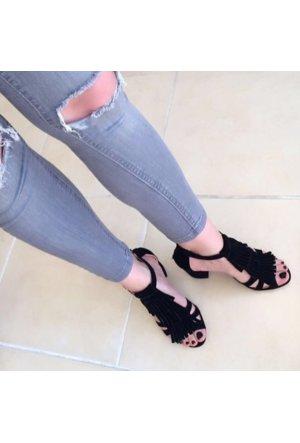 Modabuymus Jansova Kısa Topuklu Siyah Püsküllü Bayan Ayakkabı