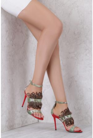 İlvi Melinda 3741 Sandalet Yeşil Yılan Multi