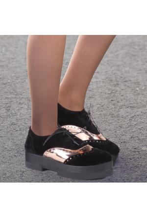 İnce Topuk Siyah Bakır Oxford Ayakkabı