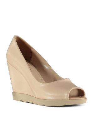 Marjin Fabro Dolgu Topuklu Ayakkabı Bej