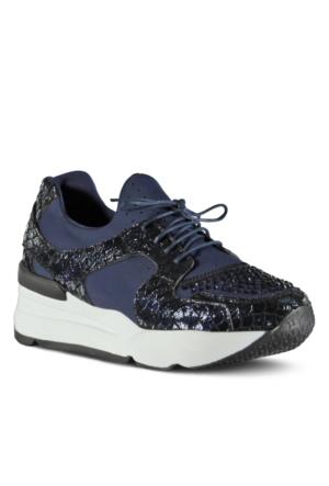 Marjin Agata Düz Spor Ayakkabı Lacivert Croco