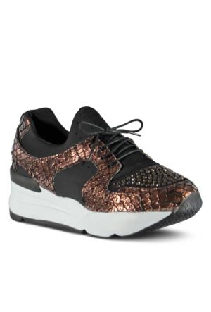 Marjin Agata Düz Spor Ayakkabı Bronz Croco