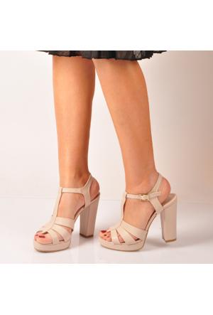 Marjin Andela Topuklu Sandalet Bej