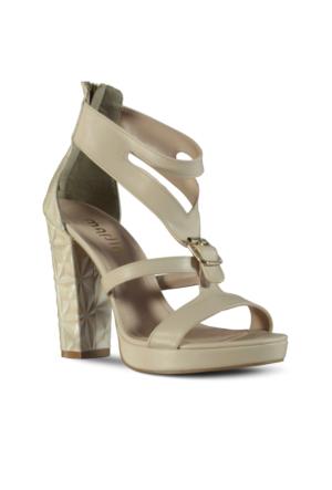 Marjin Liza Topuklu Sandalet Bej