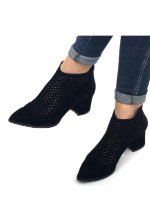 Mio Gusto Siyah Süet Lazer Kesim Delikli Kısa Topuklu Kadın Bot