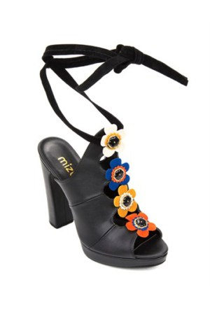 Mizu Siyah Çiçek Motifli Topuklu Ayakkabı