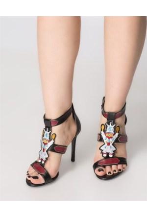 Mizu Süet Siyah Topuklu Sandalet Torry