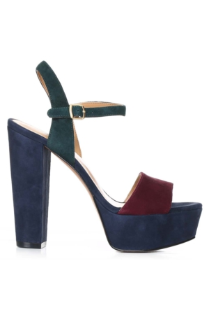 Nine West Nwcarnation Lacivert-Bordo Gerçek Süet Sandalet