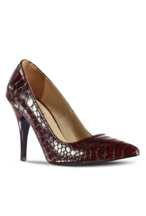 Marjin Kegan Topuklu Ayakkabı Bordo Croco