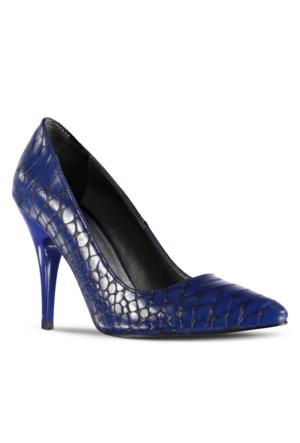 Marjin Kegan Topuklu Ayakkabı Mavi Croco