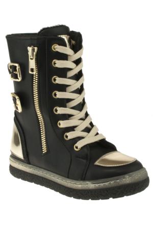 Vicco 954Y543 Parlak Burun Bağlı Fermuarli Siyah Çocuk Çizme