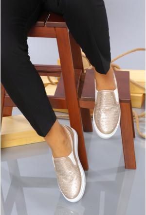 Yıldız Kundura Altın Taşlı Kadın Vans Günlük Ayakkabı