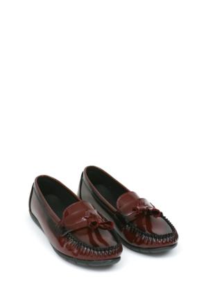 Zerrin Ayakkabı Bordo Rugan Püsküllü Kadın Ayakkabı-112993