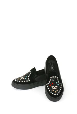 Celens Siyah Taşlı Kadın Ayakkabı-K201
