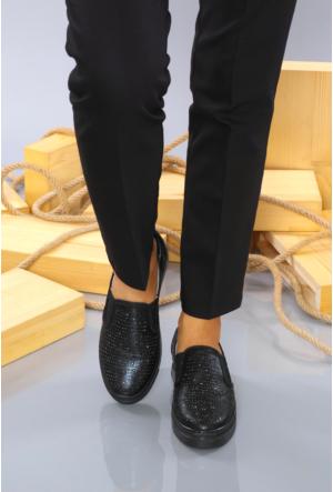 Yıldız Kundura Siyah Taşlı Kadın Vans Günlük Ayakkabı