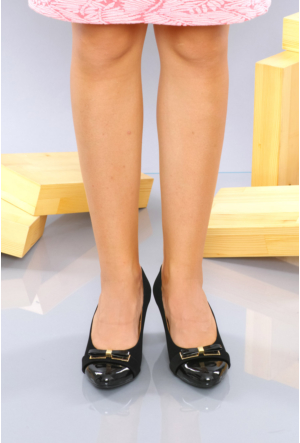 İlker Kundura Siyah Velvet Klasik Kadın Ayakkabı-416