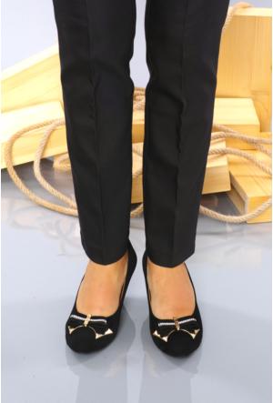 İlker Kundura Siyah Velvet Klasik Kadın Ayakkabı-418
