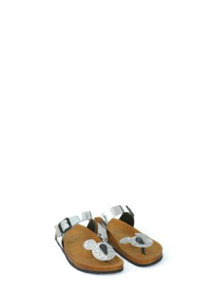 Fidan Ayakkabı Gümüş Miki Mouse Parmak Arası Kadın Terlik