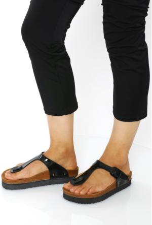 Fidan Ayakkabı Siyah Rugan Parmak Arası Kadın Terlik
