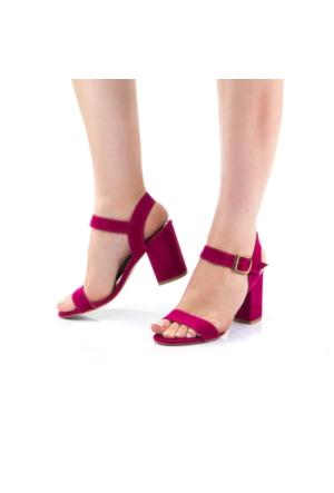 Modabuymus Tugalax Fuşya Kısa Topuk Bantlı Ayakkabı