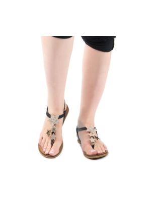 Modabuymus Zantigo Siyah Yıldız Taşlı Kadın Sandalet