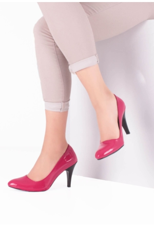 Erbilden Erb Fuşya, Siyah Topuklu Klasik Kısa Topuk Bayan Ayakkabı