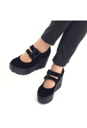 Mio Gusto Mio Gusto - Siyah Süet Dolgu Topuk Kadın Ayakkabı