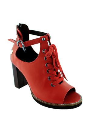 Mammamia D16Ya-3515 Deri Topuklu Kadın Ayakkabı Kırmızı
