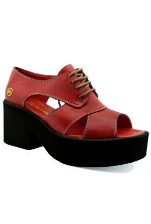 Mammamia D16Ya-120 Kalın Tabanlı Deri Ayakkabı Kırmızı
