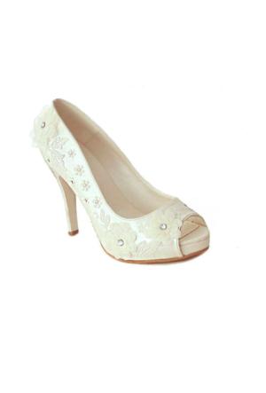 Ayakkabım Çantam 152 İşlemeli Kadın Ayakkabı Sedef