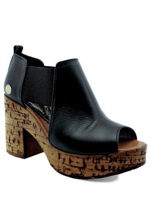 Mammamia D16Ys-1340 Topuklu Deri Ayakkabı Siyah