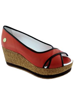 Mammamia D16Ya-3955 Deri Dolgu Topuklu Ayakkabı Kırmızı