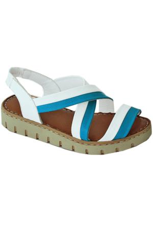 Green Life Foot 786 Deri Kadın Sandalet Beyaz