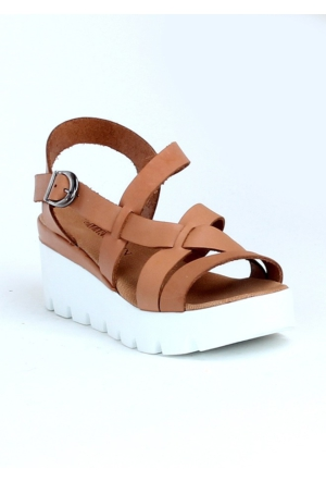 Markazen Tokalı Platform Topuk Sandalet Ayakkabı - Taba