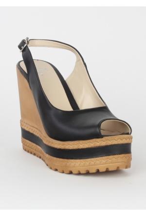 Markazen Dolgu Topuk Bayan Ayakkabı - Siyah 01