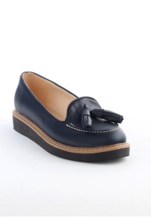 Markazen Püsküllü Babet Ayakkabı - Lacivert 05