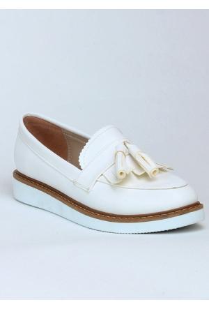 Markazen Püsküllü Babet Ayakkabı - Beyaz