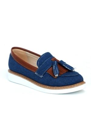Markazen Püsküllü Kot Babet Ayakkabı - Mavi